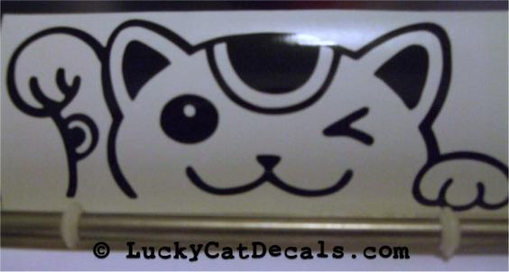 Maneki Neko Lucky Cat Peeking Peek a Boo JDM Decal